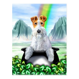 Wire Fox Terrier Pot O Gold Postcard