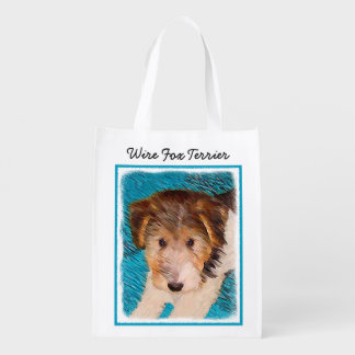 Wire Fox Terrier Puppy Painting - Original Dog Art Reusable Grocery Bag