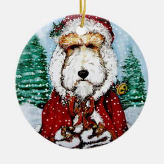 Wire Fox Terrier Santa Ceramic Ornament