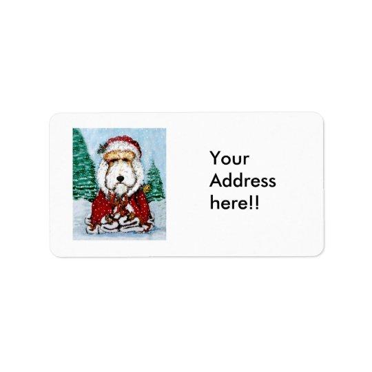 Wire Fox Terrier Santa Label