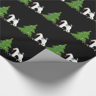 Wire Fox Terrier Silhouette Christmas Design Wrapping Paper