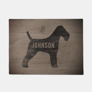 Wire Fox Terrier Silhouette Personalized Doormat