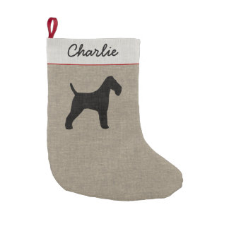 Wire Fox Terrier Silhouette with Custom Text Small Christmas Stocking