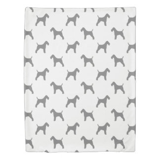 Wire Fox Terrier Silhouettes Pattern Duvet Cover