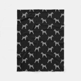 Wire Fox Terrier Silhouettes Pattern Fleece Blanket