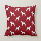 Wire Fox Terrier Silhouettes Pattern Red Throw Pillow