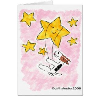 Wire fox terrier swingin' on a star card