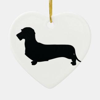 Wire Hair Dachshund Heart Ornament