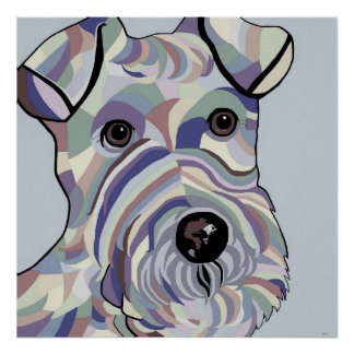 Wire Hair Fox Terrier in Denim Colours Poster
