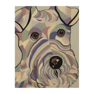 Wire Hair Fox Terrier in Denim Colours Wood Wall Art