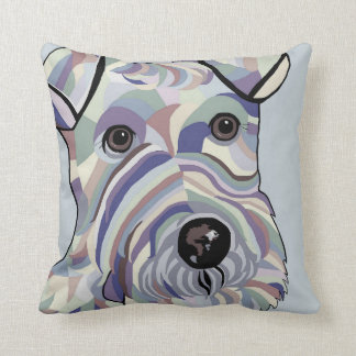 Wire Hair Terrier in Denim Colors Throw Pillow