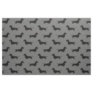 Wire Haired Dachshund Silhouettes Pattern Fabric