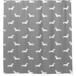 Wire Haired Dachshund Silhouettes Pattern Grey