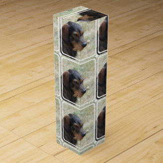 Wire Haired Daschund Dog Wine Box