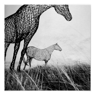 Wire Horses on Canvas by LLR Poster