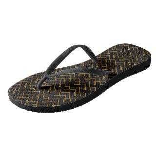 Wired Black-Gold Flip Flops