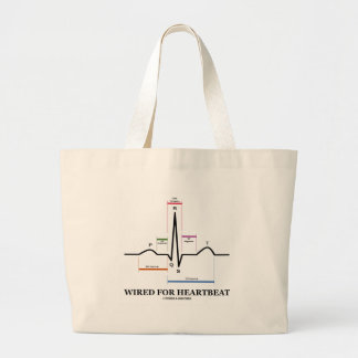 Wired For Heartbeat (ECG/EKG Sinus Rhythm) Large Tote Bag