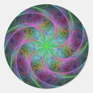 Wired septopus round sticker