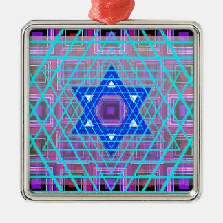 Wired Star of David. Silver-Colored Square Ornament