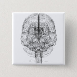 Wireframe of the brain 2 inch square button