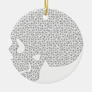 Wireframe Skull Ceramic Ornament
