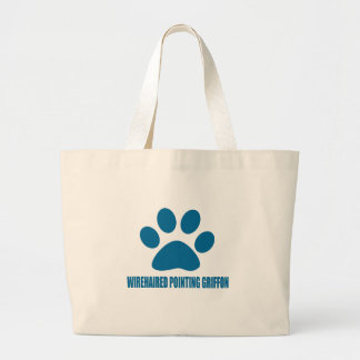 WIREHAIRED POINTING GRIFFON DOG DESIGNS LARGE TOTE BAG