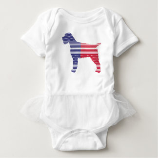 Wirehaired Pointing Griffon Patriotic Dog Red Blue Baby Bodysuit