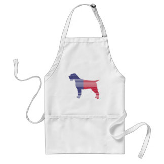 Wirehaired Pointing Griffon Patriotic Dog Red Blue Standard Apron