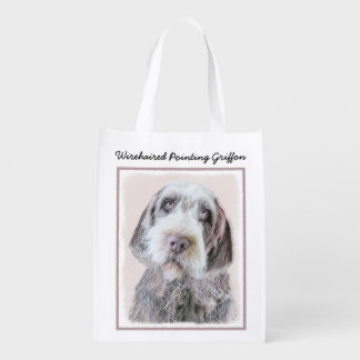 Wirehaired Pointing Griffon Reusable Grocery Bag