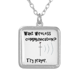 Wireless Communication Prayer Silver Plated Necklace