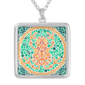 Wireless Frog, Color Perception Test, White Square Pendant Necklace