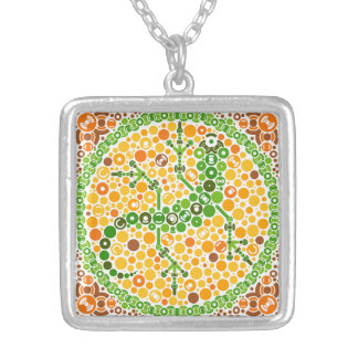 Wireless Gecko, Color Perception Test, White Square Pendant Necklace