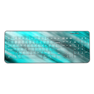 Wireless keyboard, abstract art, light blue wireless keyboard