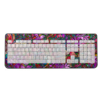 Wireless Keyboard Floral Abstract Stained Glass