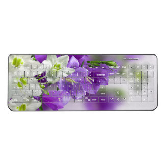 Wireless Keyboard--Purple Flowers-Vertical Wireless Keyboard