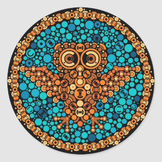 Wireless Owl, Color Perception Test, Black Round Sticker