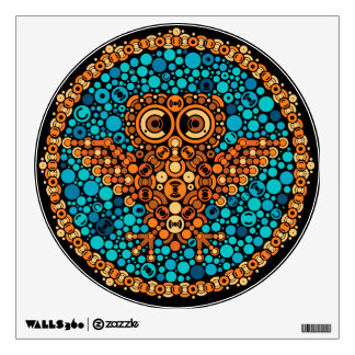 Wireless Owl, Color Perception Test, Black Wall Sticker