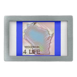 """Wisconsin 4 Life"" State Map Pride Design Belt Buckle"