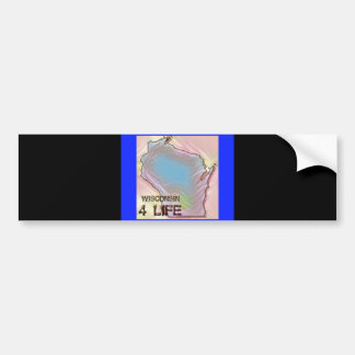 """Wisconsin 4 Life"" State Map Pride Design Bumper Sticker"