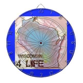 """Wisconsin 4 Life"" State Map Pride Design Dartboard"