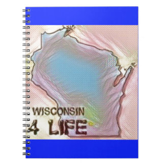 """""""Wisconsin 4 Life"""" State Map Pride Design Notebooks"""