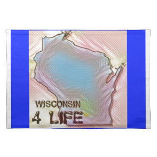 """Wisconsin 4 Life"" State Map Pride Design Placemat"