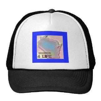 """Wisconsin 4 Life"" State Map Pride Design Trucker Hat"