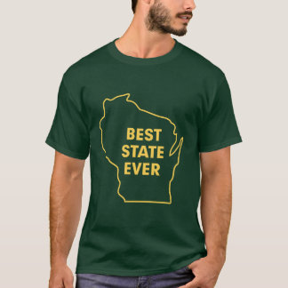 "Wisconsin ""Best State Ever"" Green and Gold T-Shirt"