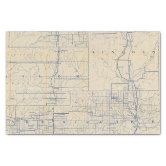 Wisconsin Bicycle Road Map 3 Tissue Paper