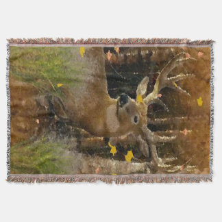 Wisconsin Big Buck Whitetail Deer Signature Throw Blanket