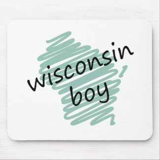 Wisconsin Boy on Child's Wisconsin Map Drawing Mouse Pad