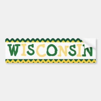 Wisconsin Car Bumper Sticker Green and Gold