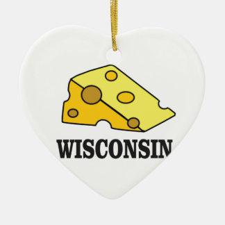 Wisconsin cheese head ceramic ornament