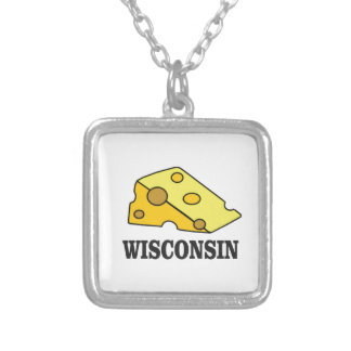 Wisconsin cheese head silver plated necklace